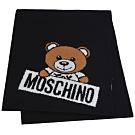 MOSCHINO 義大利製小熊字母LOGO圖騰混羊毛圍巾(黑)
