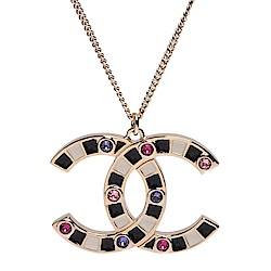 CHANEL 經典黑白琺瑯雙C LOGO粉彩水鑽鑲飾造型項鍊(金)