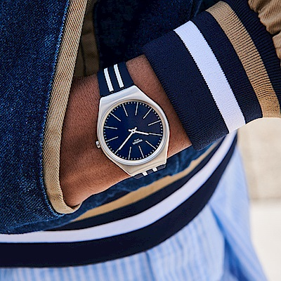Swatch 超薄金屬系列 SKINBLUEIRON 海洋藍手錶