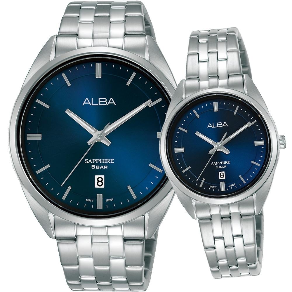 ALBA 雅柏 經典大三針時尚對錶(VJ42-X303B+VJ22-X323B)