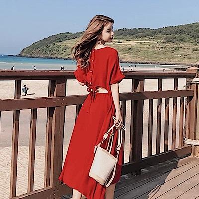 La Belleza背後排釦綁帶鏤空露背鬆緊腰連身洋裝