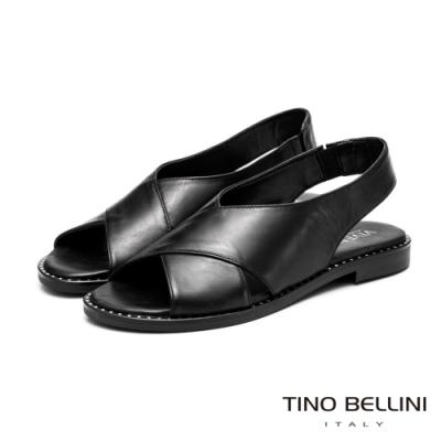 Tino Bellini中性簡單大交叉平底涼鞋_黑