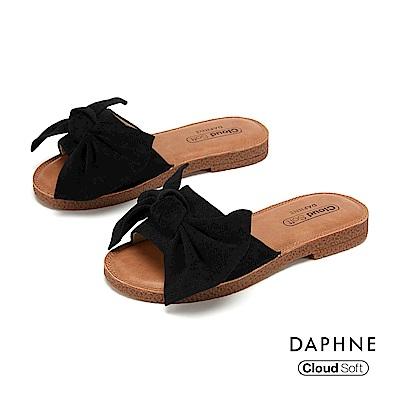 達芙妮DAPHNE 涼鞋-大方甜美蝴蝶結飾平底拖鞋-黑色