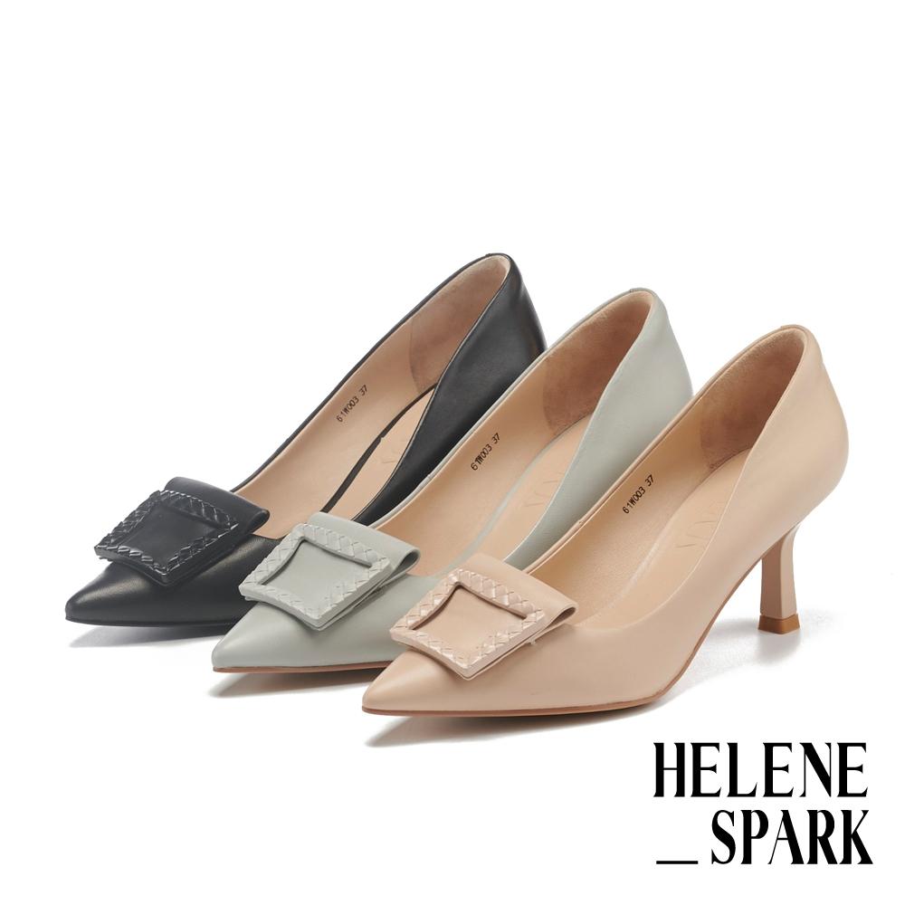 高跟鞋 HELENE SPARK 典雅氣質編織方釦羊皮尖頭高跟鞋-黑