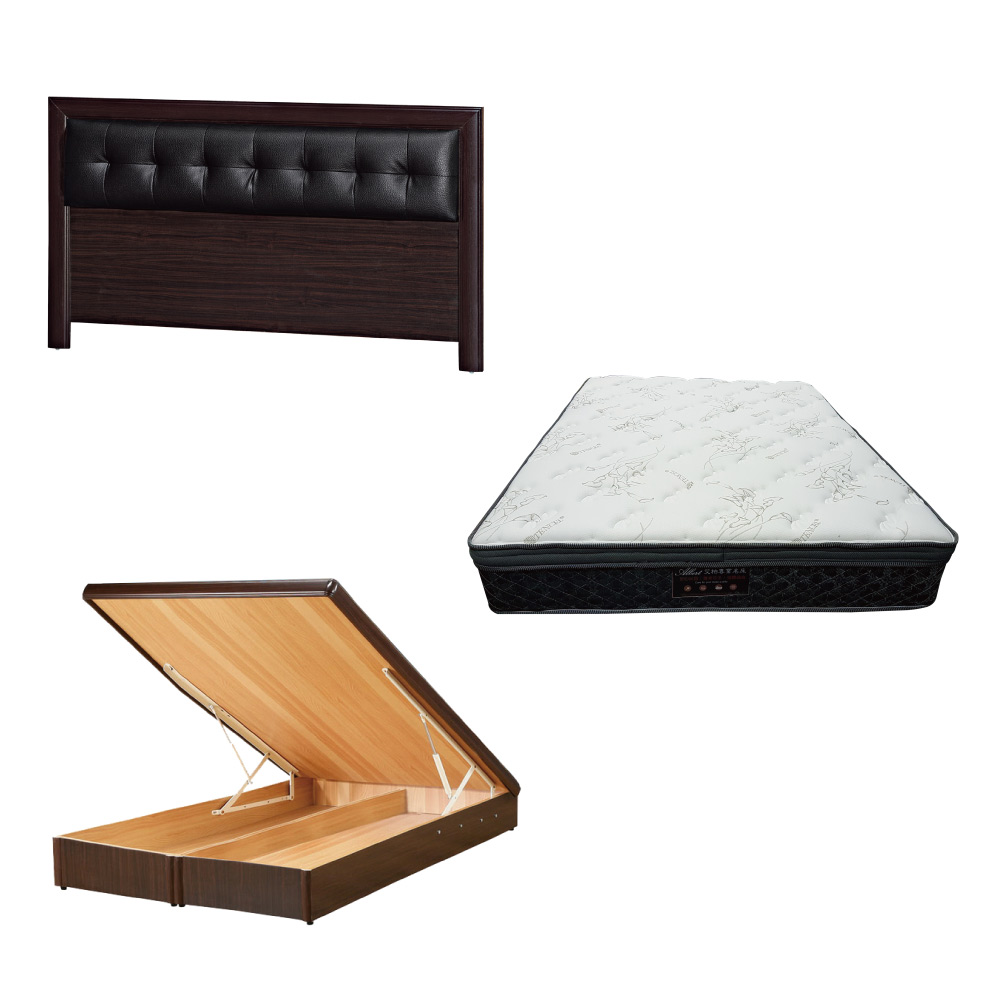 綠活居 亞多5尺雙人床台三式組合(床頭片+後掀床底+正三線乳膠獨立筒床墊)五色可選