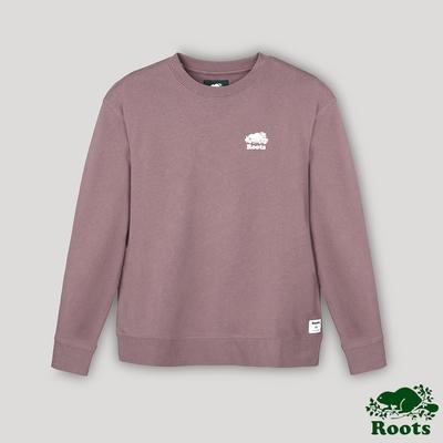 Roots女裝- 經典海狸LOGO男友版型圓領上衣-暗紫色