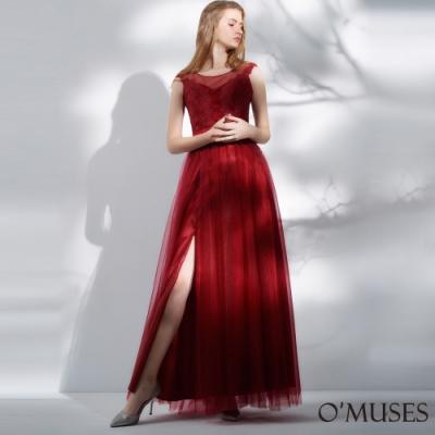 OMUSES 重工藝蕾絲刺繡網紗長禮服