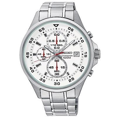 SEIKO精工 非凡時尚三眼計時石英腕錶(SKS623P1)-白x43mm