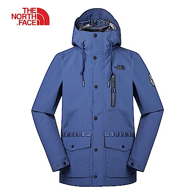 The North Face北面男款藍色防風防水衝鋒衣|3V3OHDC