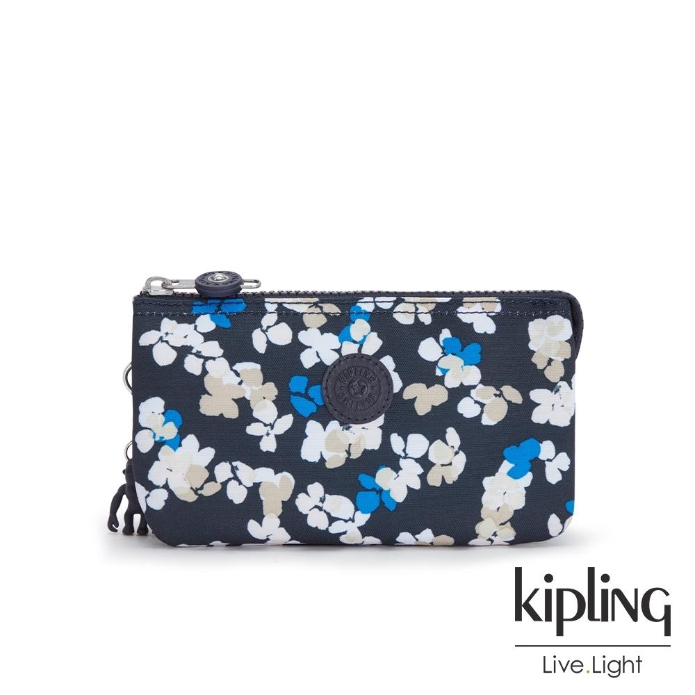Kipling 清新手繪碎花三夾層配件包-CREATIVITY L