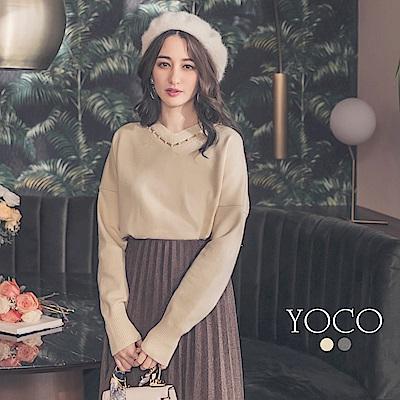 東京著衣-yoco 法式浪漫鏤空珍珠墜領針織上衣-S.M.L(共二色)