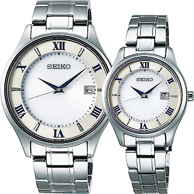 SEIKO 精工 SPIRIT SMART 太陽能鈦金屬對錶-40+29mm
