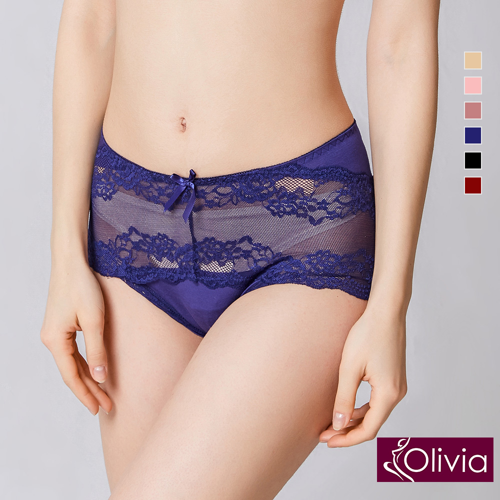 Olivia 性感蕾絲無痕中腰三角內褲-藍色