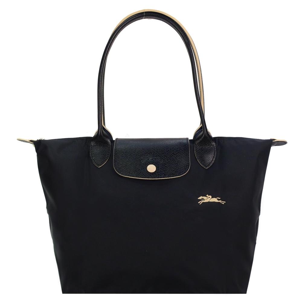 LONGCHAMP Le Pliage Collection刺繡長把摺疊水餃包(小/黑)