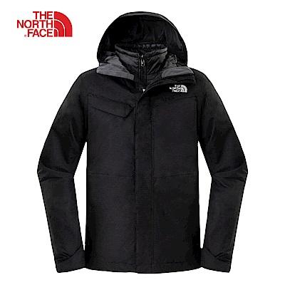 The North Face北面男款黑色防水透氣三合一夾克|2UC3KX7
