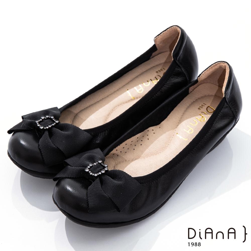 DIANA 3.5cm 質感牛皮金屬水鑽蝴蝶結娃娃鞋-氣質甜美-黑