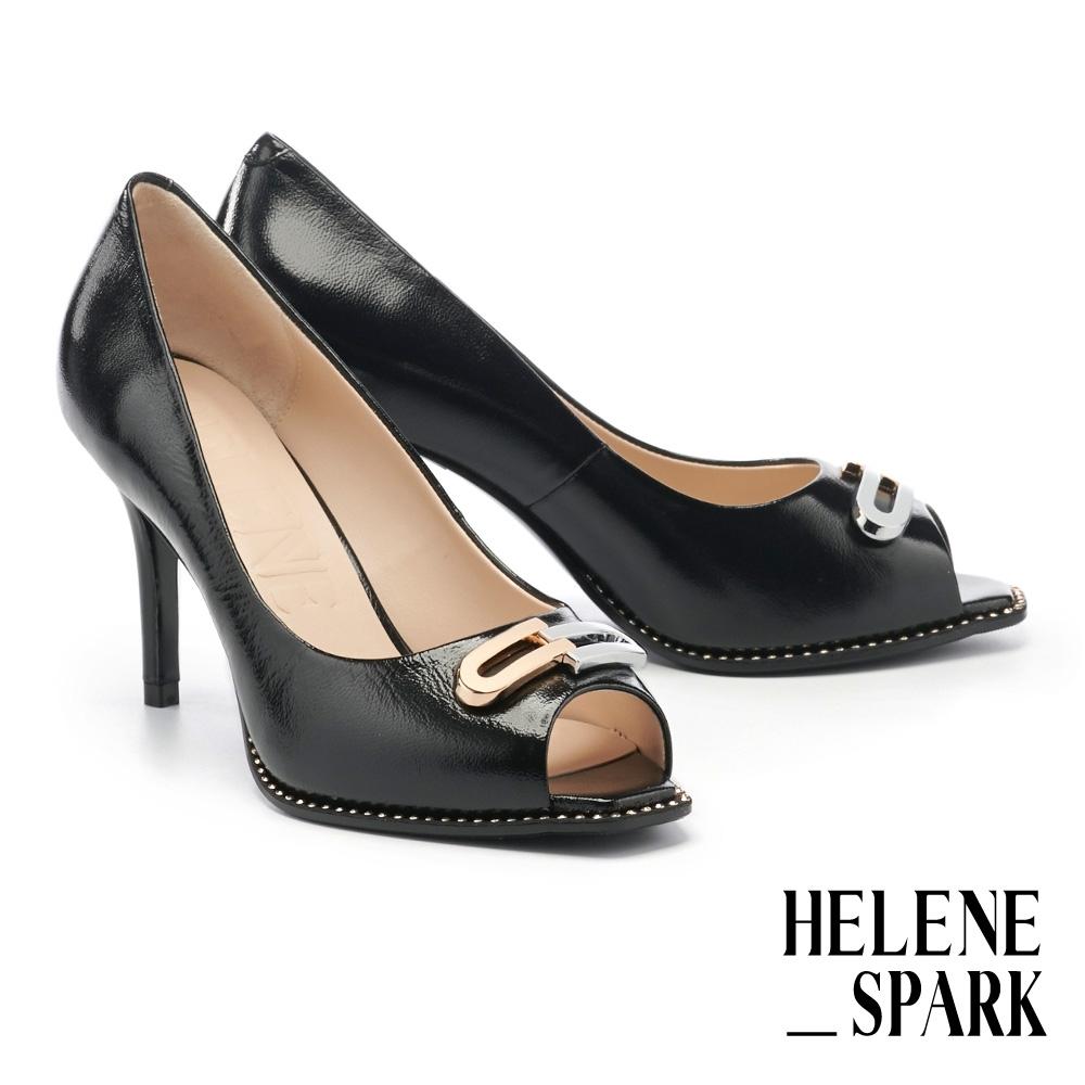 高跟鞋 HELENE SPARK 都會時尚雙色金屬釦美型魚口高跟鞋-黑