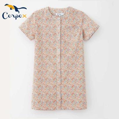 CorpoX-女童短袖小洋裝-花朵黃