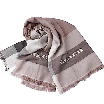 COACH 新款輕薄保暖舒適方型圍巾/披肩-卡其/灰COACH