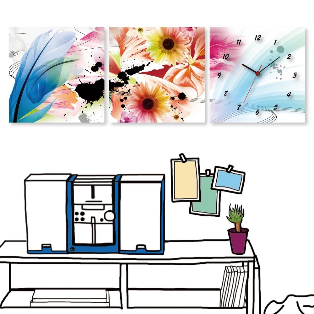 [全新展示品] 24mama掛畫 三聯式 時鐘掛畫無框畫-羽毛花卉 40x40cm