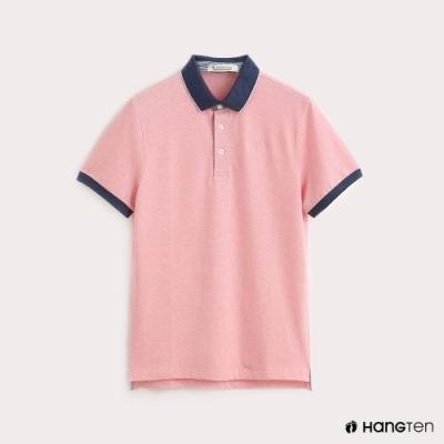 Hang Ten-男裝-領片跳色彈性POLO衫-粉