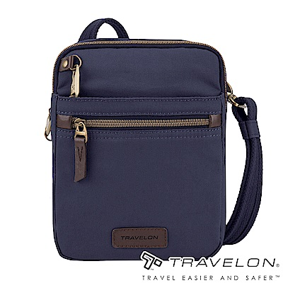 Travelon美國防盜包 防割鋼網休閒旅遊N/S斜背包TL-33306-18靛藍/帆布包
