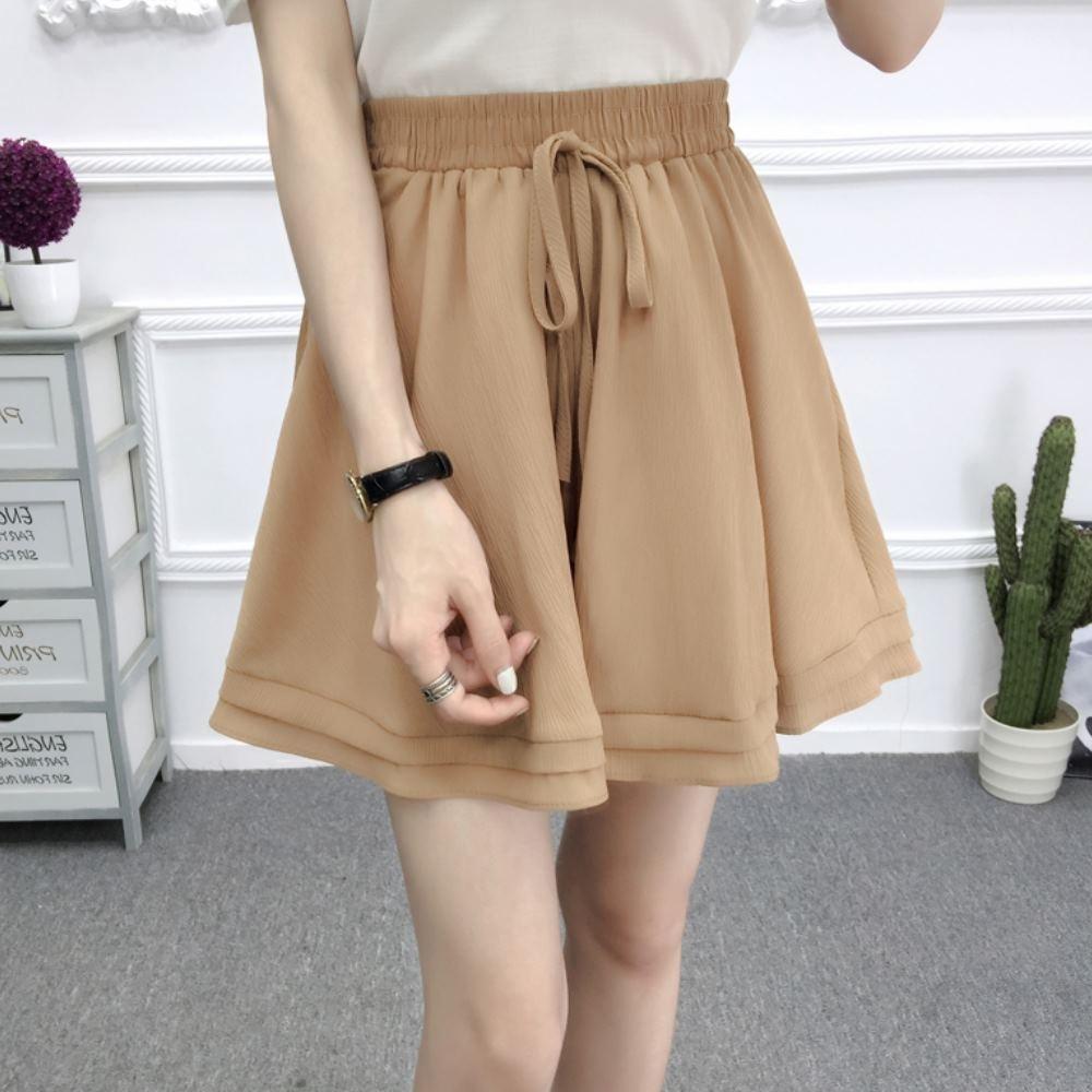 La Belleza素色鬆緊腰抽繩雙層波浪裙擺棉麻闊腿短褲裙 product image 1