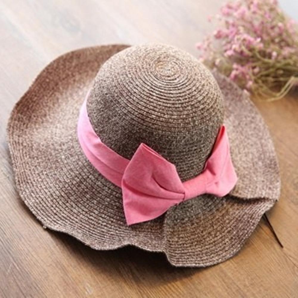 米蘭精品 草帽防曬遮陽帽-蝴蝶結時尚優雅大簷戶外出遊沙灘女帽子73eq30
