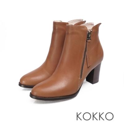 KOKKO - 自由意志真皮圓頭高跟短靴 - 焦糖棕