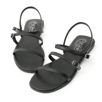 D+AF 簡單個性.三條釦環帶平底涼鞋*黑