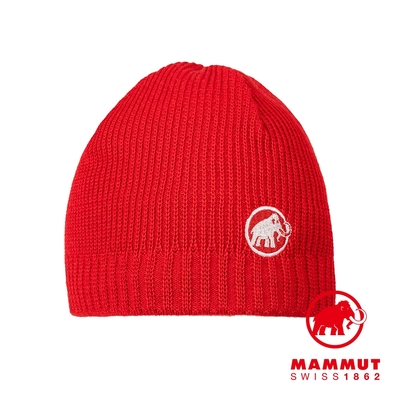 【Mammut】Sublime Beanie 刺繡LOGO保暖羊毛帽 岩漿紅  #1191-01542