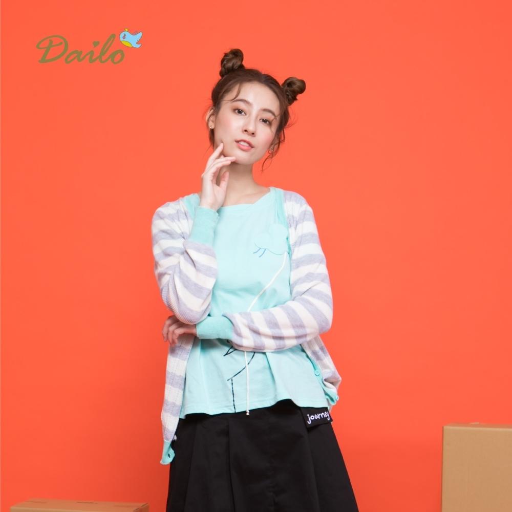 【Dailo】條紋撞色排釦開襟-針織衫(三色)