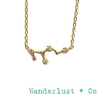 Wanderlust+Co 澳洲品牌 處女座項鍊 金色鑲鑽項鍊 VIRGO