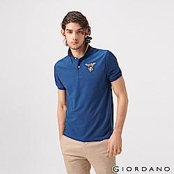 GIORDANO 男裝麋鹿漸層刺繡短袖POLO衫-42 雪花深鯨魚藍