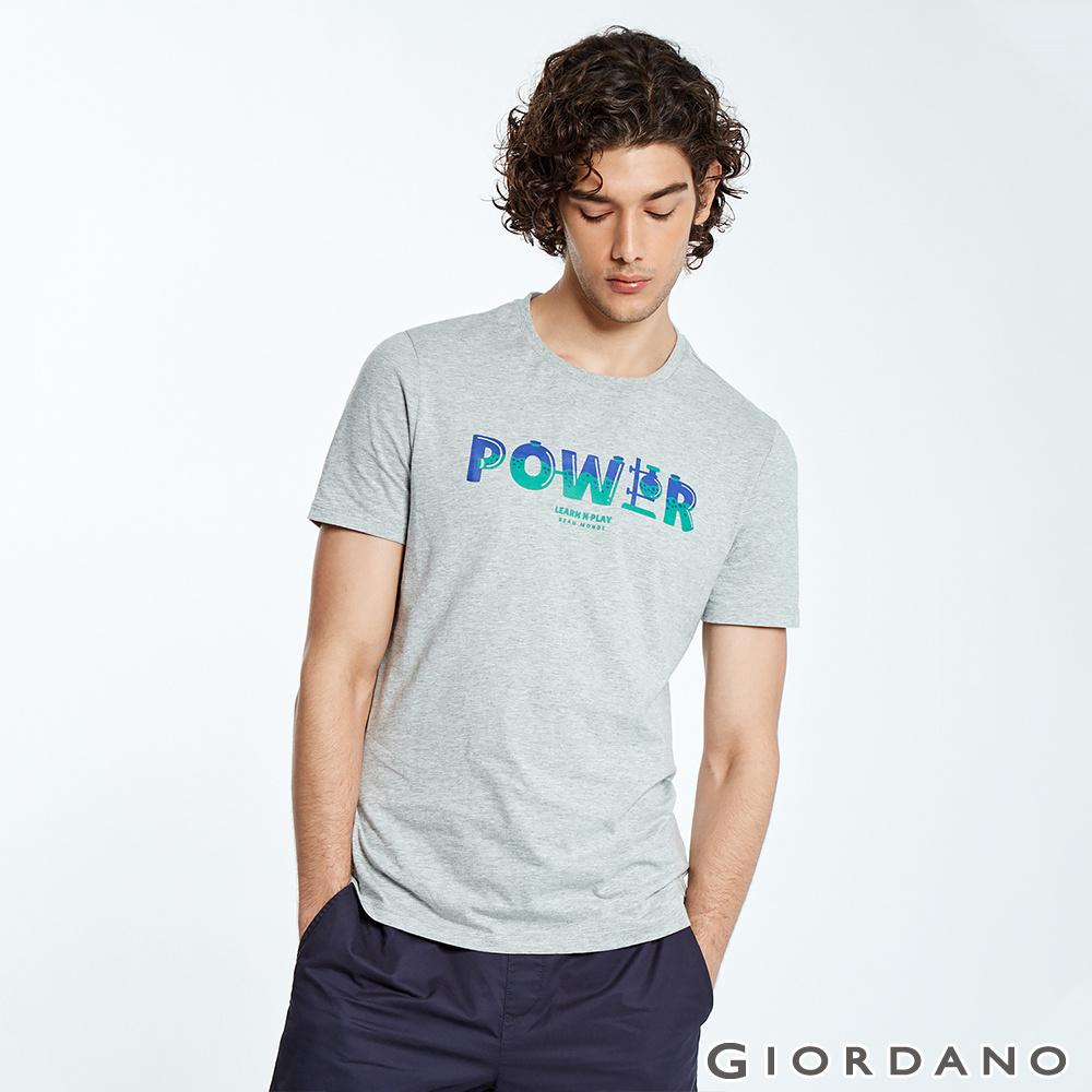 GIORDANO 男裝LEARN N PLAY系列印花短袖T恤-51 中花灰