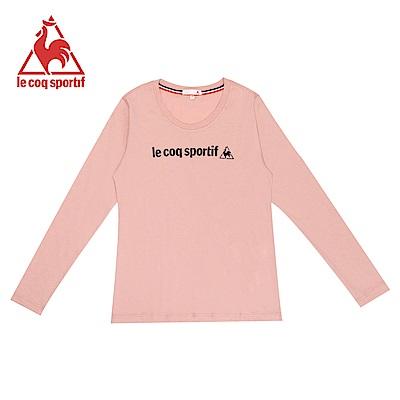 le coq sportif 法國公雞牌復古LOGO印花圓領長袖T恤 女-灰粉