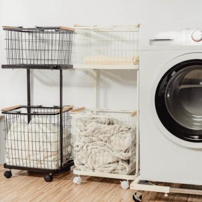 樂嫚妮 雙提籃方型洗衣籃收納車-白-黑