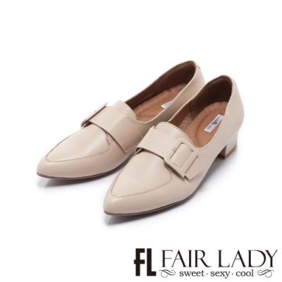 FAIR LADY Soft芯太軟率性方釦釦帶尖頭樂福鞋 典雅杏