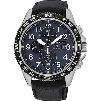 精工SEIKO Prospex系列時尚太陽能腕錶-藍-V176-0BB0B