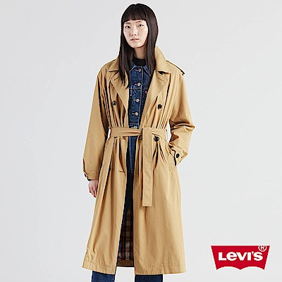 Levis 女款 大衣 格紋內理 黃