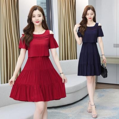微性感露肩法式浪漫裙襬洋裝L-3XL(共二色)-REKO