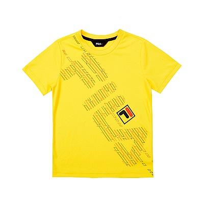 FILA KIDS 童吸濕排汗短袖上衣-黃色 1TET-4903-YE