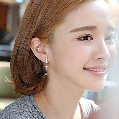 梨花HaNA 韓國925銀針美的境界珍珠後掛直線鑽耳環