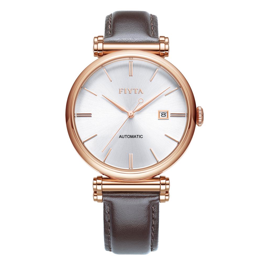 FIYTA飛亞達 IN系列時尚玫瑰金咖啡色皮帶機械錶GA850008.PWK-41.5mm