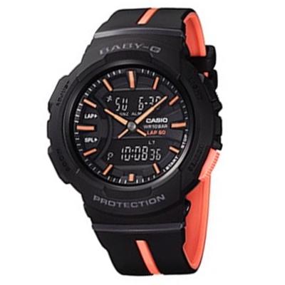 BABY-G亮眼配色運動服飾風格慢跑系列休閒錶(BGA-240L-1A)黑X粉橘42.6mm