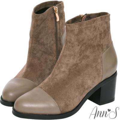 Ann'S異材質皮革拼接防水絨布粗跟短靴-咖啡(版型偏大)