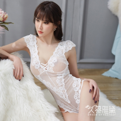 情趣睡衣 蕾絲綁帶柔紗性感連體衣。白色 久慕雅黛