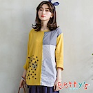 betty's貝蒂思 格紋點點拼接七分袖T-shirt(黃色)