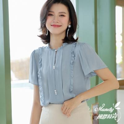 Mandy國際時尚 秀氣寬鬆荷葉邊雪紡襯短袖上衣 (3色)【韓國服飾】