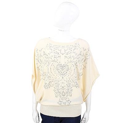 ALLUDE 美麗諾羊毛鉚釘圖騰米色針織衫